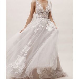 BHLDN Wedding Gown in Silver